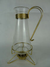 Mid Century Pyrex Glass Carafe Coffee Pot warmer with tripod tea light warmer