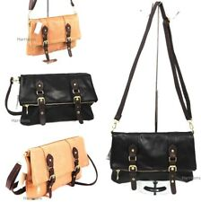 LADIES STYLISH FAUX LEATHER CROSS BODY SHOULDER BAG FOLD OVER CLUTCH ZIP & STRAP