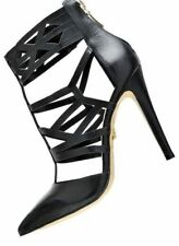 ESDRA DESIGN POINTED TOE BLACK LEATHER SINGLE SOLE HIGH HEEL CUTOUT STRAPPY SHOE