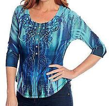 NEW One World Printed Knit 3/4 Sleeved Lace Applique Henley Top - S, M, L
