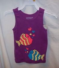 .GIRLS TODDLER ARIZONA PURPLE TANK TOPS WITH FISHES, MULTIPLE SIZES NEW WITH TAG