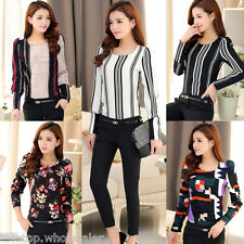 Women's T-shirt Tops Vintage Print Puff Long Sleeve Crew Neck Ladies Slim Blouse