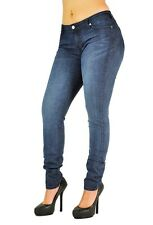 Poetic Justice Curvy Women's Nikki Basic Blue Low-Rise Skinny Hipster Jeans