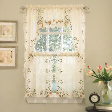Semi-Sheer Floral Embroidered Linen Kitchen Curtain Choice - Tier Valance Swag