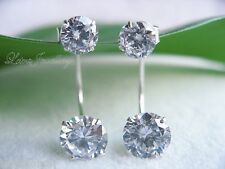 925 Stamped Sterling Silver Double Gemstones Stunning Stud Earrings Gift Present