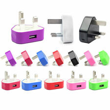 UK Mains USB 3 Pin Power Plug Charger Adapter For iPhone Samsung HTC Nokia Sony