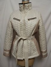 Nautica Lightweight Faux Leather Quilted Belted Jacket L Beige/Brown  New w/Tags