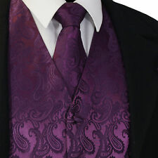 Deep Dark Purple Paisley Tuxedo Suit Dress Vest Waistcoat & Necktie wedding 20FF