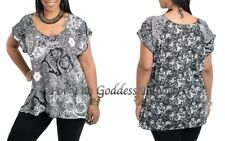 T201 BLACK AND WHITE LACY PRINT W/ SEQUIN KNIT TOP WOMEN'S PLUS SIZE 1X 2X