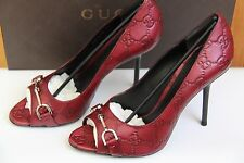 NIB New GUCCI Logo Peep Toe Leather Pump Shoes GUCCI Size 36, 38 (US 5.5, 7.5)