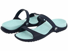 Women Crocs Cleo Silde Sandal Navy Seafoam 100% Original Brand New With Tag