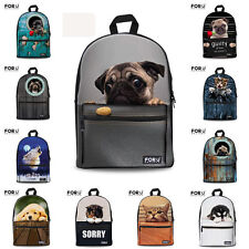 Pug Dog Cat Canvas School Bag Travel Backpack Satchel  Rucksack Women Girl Kids