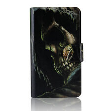 Black Skull Poker Magnetic PU Leather Flip Case Cover For Lenovo Phone 13