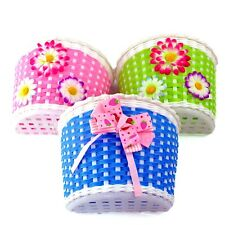 New Girls Bike Bicycle Front Basket Flowery Shopping Stabilizers Children Kids