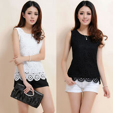 Fashion Women Sleeveless Lace Tank Top Summer Loose Casual Vest T-Shirt Blouse