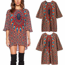 Retro Womens Baroque Ethnic Totem Floral Print 3/4 Sleeve Shift Dress Blouse Top