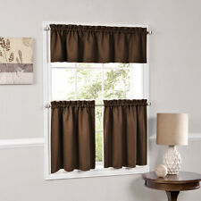 Facets Brown Room Darkening Blackout Insulated Kitchen Curtains Tiers Valances