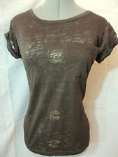 New AMBIANCE Tissue pocket Tee Shirt top womens S,M,L Brown or Purple Burn out