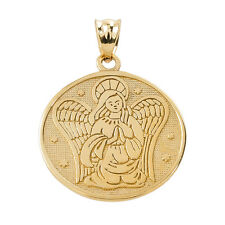 Two Sided Yellow Gold Guardian Angel Charm Pendant