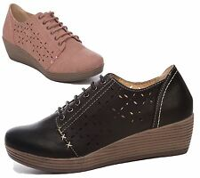 WOMENS LADIES LOW WEDGE HEEL CASUAL COMFORT OFFICE WORK SUMMER LACE UP SHOES