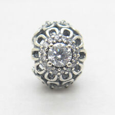 Authentic   OPENWORK FLORAL SILVER CHARM WITH CUBIC ZIRCONIA charm