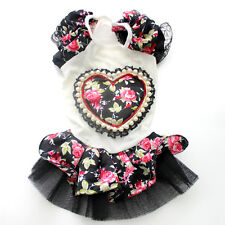 Pink/Blue/Black Princess Dog Wedding Dress Big flower&Love Pet Skirt Clothes