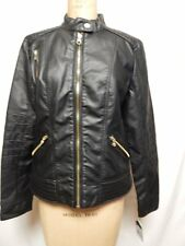 Guess Snap Collar Faux Leather Moto Jacket XL Black NWT