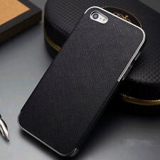 Luxury PU Leather Frame Chrome Hard Back Case Cover For Apple iPhone 4 4S 5 5S