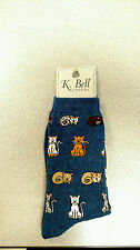 NWT K. Bell Wmn Crew Blue Denim Playful Cats Socks 2 for $12,  2 sizes available
