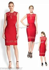 $328 Tadashi Shoji Illusion Lace Pintuck Neoprene Deep Red Sheath Dress L