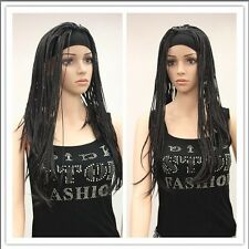 "new women ""s brown black gold long straight cosplay full braid wig+hairnet A1014"