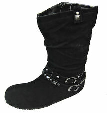 Girls/Ladies Ex-Store Black Flat Sole Ankle Boots Suede Style Sizes UK10 - UK6