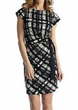 REDUCED!! Gabby Skye Black/Ivory Ruched Side Tie Stretch Jersey Dress - MSRP $88