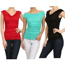 USA Career Solid Color Ruched Cowl Neck Cap Sleeve Jersey Shirt Blouse Top Rayon