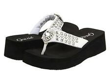 GRAZIE FLIP FLOPS SANDALS SHOES SABINA WOMANS SLIDES BLING RHINESTONE WHITE NEW