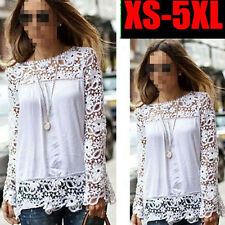 Girl Women Sheer Sleeve Embroidery Lace Crochet Tee Chiffon Shirt Top Blouse ns