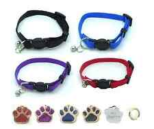 Cat Collar, With Bell, Quick Release With Free Engraved Glitter Paw ID Tag & P&P