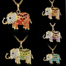 Fashion rhinestone elephant shaped enamel pendant gold necklace New charm women