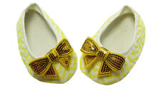 Yellow Chevron Baby Crib Shoes wtih Sequin Bow- Newborn, 3-6 Months, 6-12 Months