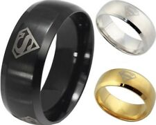 Cool Men's 8MM Wide Ring 316L Stainless Steel Superman Superhero Band Ring Hot