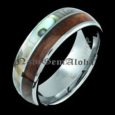 Koa Wood Abalone Shell Tungsten Hawaiian Band Ring Comfort Fit Dome Edge 8mm