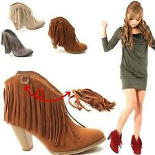 2014 Popular Sexy Fashion color Ladies Fringe High Heel Ankle boots shoes  CAHF