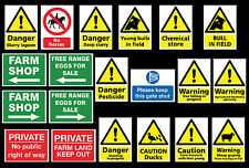 FARMING SIGN VARIOUS TYPES V1 FARM SIGNS - IN PVC OR VINYL STICKER A4 WATERPROOF