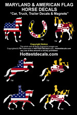 MARYLAND FLAG HORSE DECAL MAGNET STICKER JUMPING TROTTING DRESSAGE American