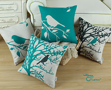 Teal Shadow Bird Tree Cushion Covers Linen Throw Pillows Shell Decor 45cm X 45cm