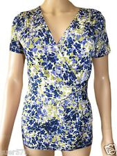 New KALIKO Ladies Purple Floral Casual V Neck Short Sleeved Top Size 8 - 22
