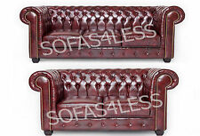chesterfield bonded leather 3+2 seater sofa + armchair antique brown oxblood red