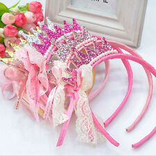 Kids Girls Pearls Resin Diamond Lace Bow Ribbon Crown Princess Hair Accessories