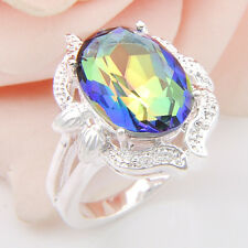 Luxury Amazing Fire Rainbow Mystical Topaz Gemstone Silver Ring Size 7 8 9