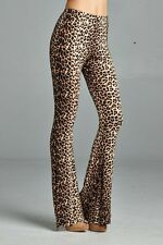 Junior Brown Leopard Bell Bottom Flarred Palazzo Pants P2290